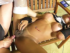 Hot tranny in lingerie gets barebacked