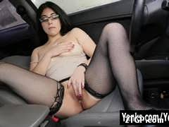 Beautiful brown modish glasses and fishnets starting Yanks Catalina Rene masturbating her quim within the vehicle Cat: attractive May 27, 2017